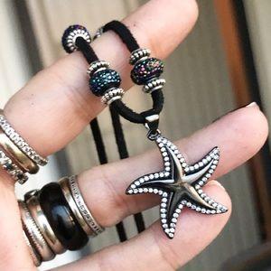 Black rodhium cz star fish blue crystal choker